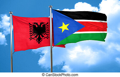 Albania flag with South Sudan flag, 3D rendering