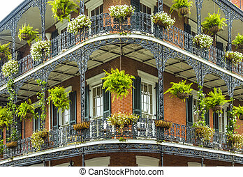 old New Orleans houses in french Quarter - old historic New...