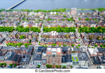 Aerial View of the Back Bay district, Boston, USA. Tilt-shift effect applied