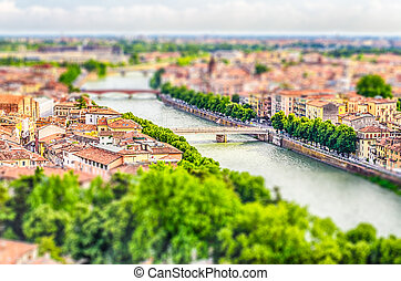 Panoramic view over Verona, Italy. Tilt-shift effect applied...