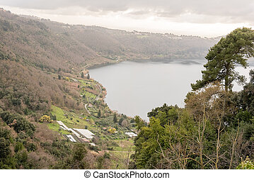Lake Nemi on the Alban Hills, Italy - Lake Nemi, a small...