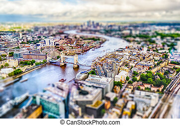 Panoramic View of London. Tilt-shift effect applied -...