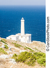 The iconic lighthouse of Capo d'Otranto, Salento, Apulia,...
