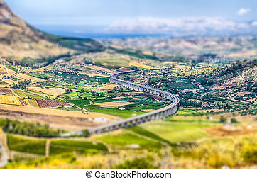 S-Curve Highway Overpass, Sicily. Tilt-shift effect applied...