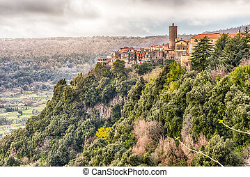 The town of Nemi on the Alban Hills, Italy - The town of...