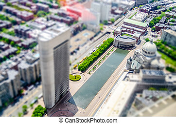 Aerial View of Central Boston, USA. Tilt-shift effect...
