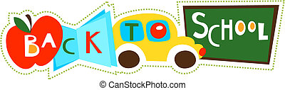 Back to school collage - Back to school illustration collage...