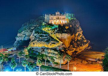 Church of Santa Maria dell'Isola at night, Tropea, Italy -...