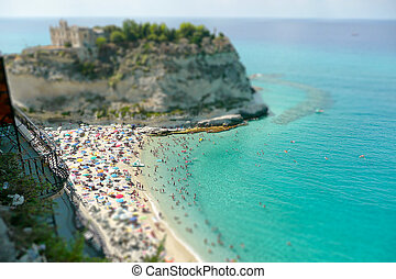View over Isola Bella Beach, Tropea, Italy. Tilt-shift...