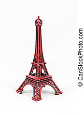 Red Eiffel Tower model, isolated on white background