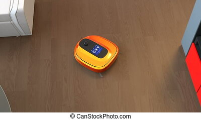 Robotic vacuum cleaner cleaning floors 3D rendering...
