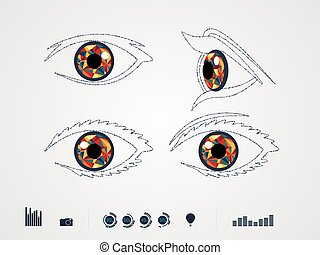 Vector illustration of color eye
