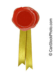 red wax seal - round red wax seal with a golden ribbon