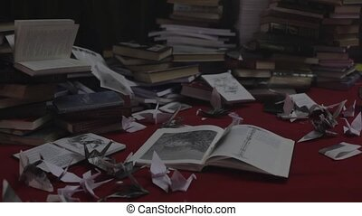 Messy place full of books and paper pan shot