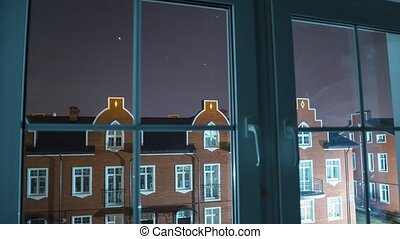 View from the house window, time lapse video of night...