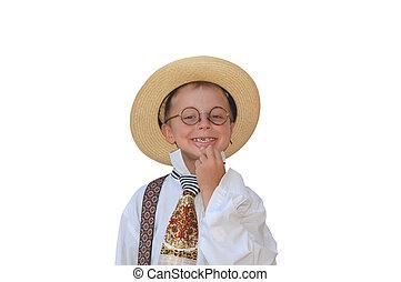 Boy -  boy and his straw hat.