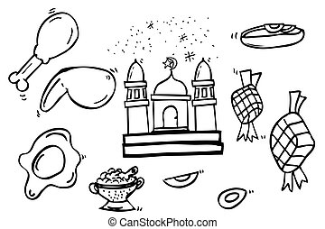 Ramadhan Foods Sketch - vector Ramadhan Foods Sketch