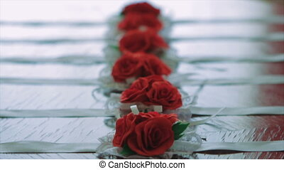 Six Red Rose Corsage For The Female's Wrist - Close-Up of...