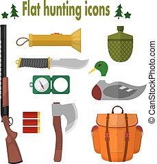 Hunting Icons. Set of vector icons of hunting. Illustration...