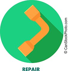 Repair icon. Wrench on a round background with shadow....