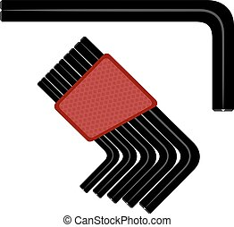 Allen wrench. Vector illustration of a hex wrench on a white background. Tool for repair.