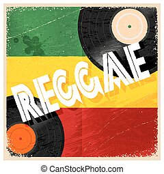 Vintage poster reggae. Rastaman color poster with the word reggae and record music.