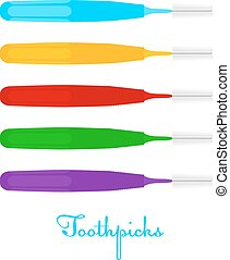 Toothpicks on a white background Colored Vector toothpicks,...
