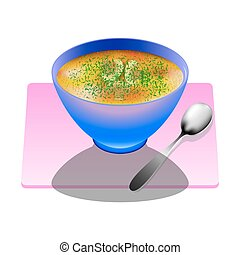Mushroom soup in a deep plate with spoon