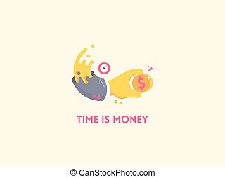 Time is money concept icon Hand with clock holding a coin...