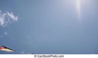 14-Colorful Kite Flying In The Blue Sky Slowmotion -...