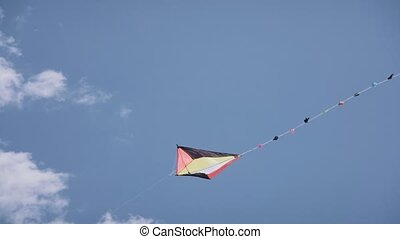 16-Colorful Kite Flying In The Blue Sky Slowmotion -...