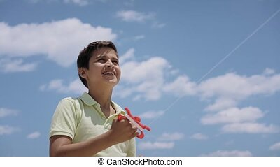 15-Happy Boy Flying Kite On Sunny Day Slowmotion - Happy boy...