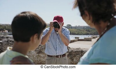 11-Family On Holidays In Cuba Grandpa Tourist Taking Photo -...