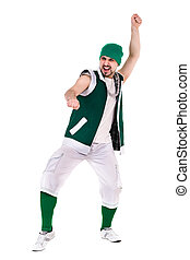 friendly man dressed like a funny gnome dancing Isolated on...