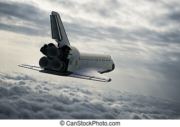 Space Shuttle In The Clouds. 3D Illustration.