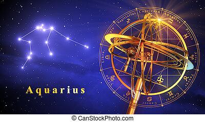 Armillary Sphere And Constellation Aquarius Over Blue...
