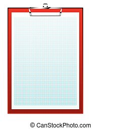 clip board graph paper - Red clip board with blue square...