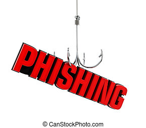 Phishing word at the end of fishing hook. 3D illustration