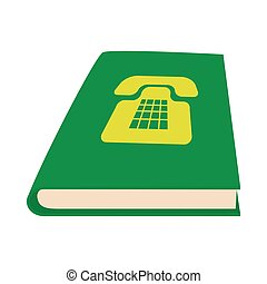 Green phone book icon, cartoon style - Green phone book icon...