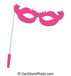 Pink theatrical mask icon, cartoon style - Pink theatrical...