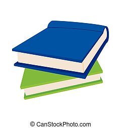 Two books icon in cartoon style