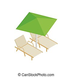 Deckchair and parasol icon, isometric 3d style - Deckchair...