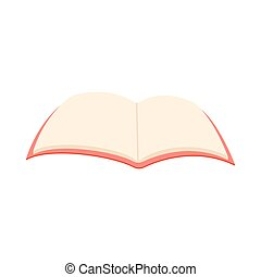 Blank opened book icon, cartoon style - Blank opened book...