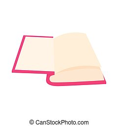 Opened book icon in cartoon style on a white background