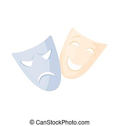 Comedy and tragedy theatrical masks icon in cartoon style on...