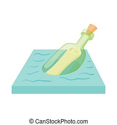 Bottle with letter icon, cartoon style - Bottle with letter...