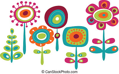 Cute colorful flowers, childish vector illustration