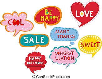 Cute speech bubbles - Cute comics speech bubbles and labels