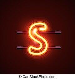 Neon font letter s. Vector illustration