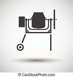 Icon of Concrete mixer on gray background with round shadow....